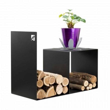 Trähållare för modern design med inomhusbord i svart stål - Cecia