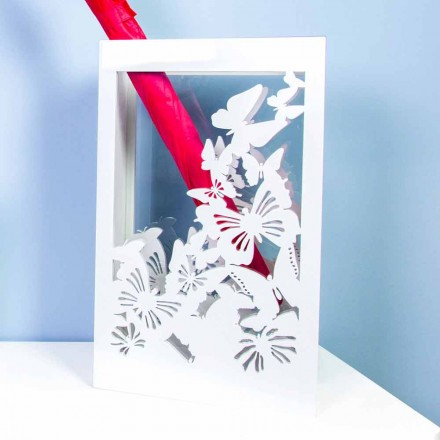 Vitt träparaplystativ med modern design dekorerad med fjärilar - Papilio