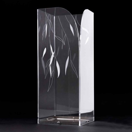 Designparaplystativ i genomskinligt plexiglas med graverade löv - Kanno