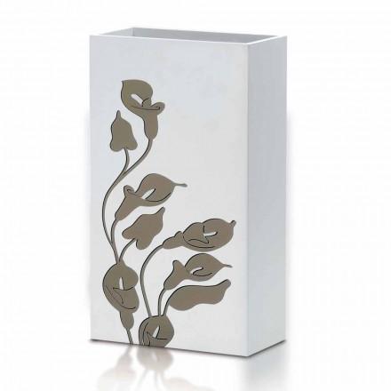 Paraplymodell i vitt trä med blommig dekor - Caracalla