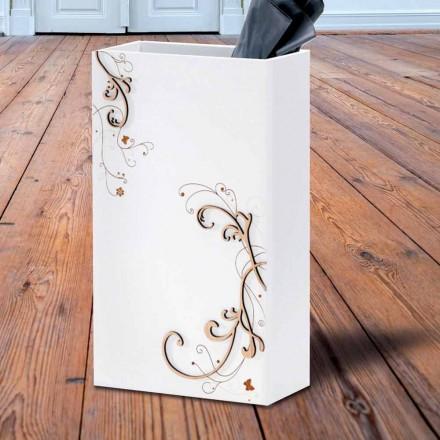 Modernt elegant paraplystativ i mörkt eller vitt trä med dekorationer - Poesi