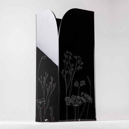 Modernt paraplyställ i svart eller genomskinligt plexiglas med gravyr - Florinto