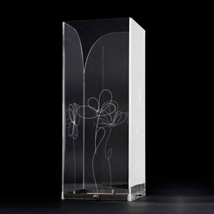 Transparent plastparaplystativ med graverade stiliserade löv - Florino
