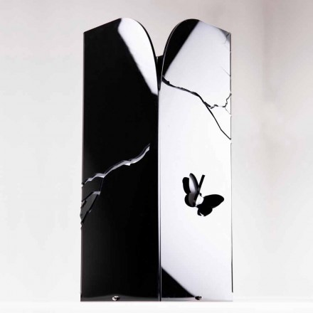 Svart plexiglasparaplyställ med 3D-gravyrer och dekorationer, modern design - Farfo