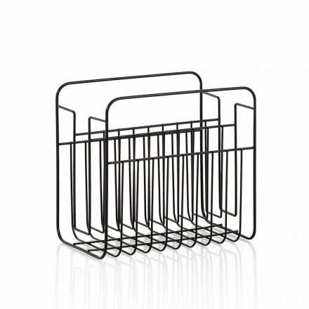 Modernt golvmagasinstativ i matt svartlackerad metalltråd - reviderad