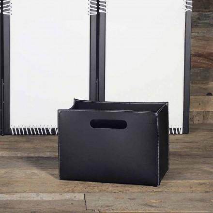 Lädermagasinväska med träunderlag med gummi-fötter - Sandler-modell