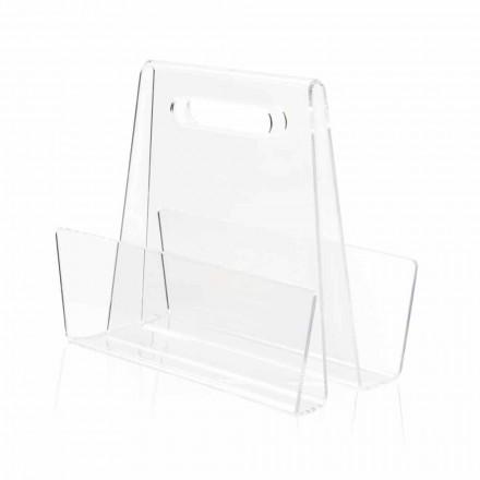 Modern Transparent Plexiglas Magazine Rack Tillverkad i Italien - omoralisk