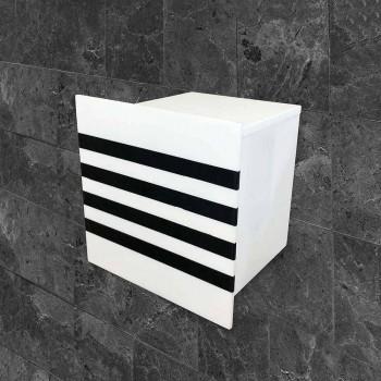 Badrumsrullehållare i vit Corian eller med svarta skär italiensk design - Elono