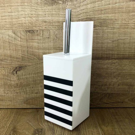 Toalettborsthållare i vit Corian eller med svart designinsats - Elono