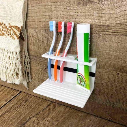 Tandborstehållare i vit eller svart Corian, designbadrumstillbehör - Elono