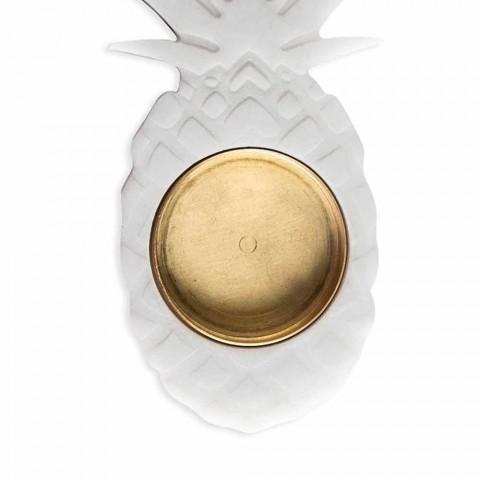 Ananas Askfat i vit Carrara Marble Tillverkad i Italien - Cenna