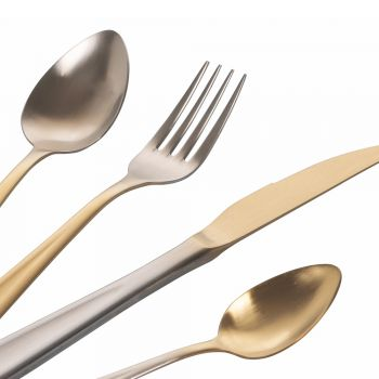 24 -delar guld- och silvergradientmatt rostfritt stål bestick - posh