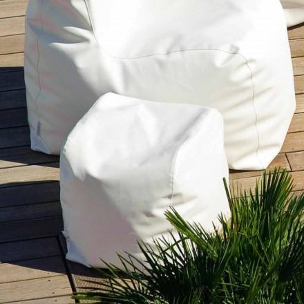 Pouf Cloud Trona design i vitt nautiska läderimitation som gjorts i Italien