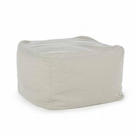 Fyrkantig utomhuspuff täckt i vattenavvisande tyg, Homemotion - Lydia