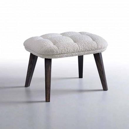 Designpuff täckt i tyg med träbotten tillverkad i Italien - Clera