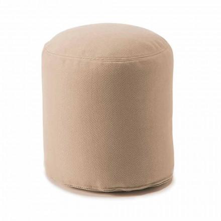 Mjuk rund puff för vardagsrum inomhus eller utomhus i färgat tyg - Naemi