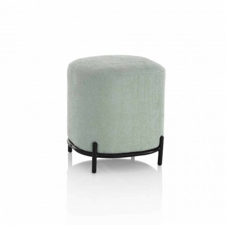 Rund puff för vardagsrum i grönt eller grått tyg Modern design - Ambrogia