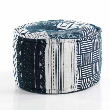 Rund pouf av etnisk design i lapptyg eller sammetsfiber