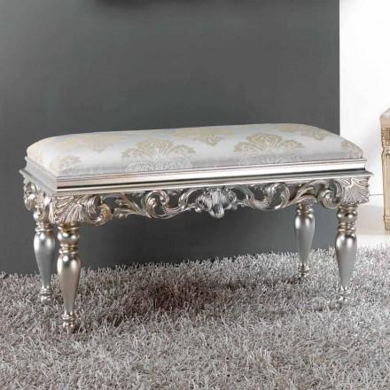 Sittpuff säng klassisk design med silverfinish Zorn