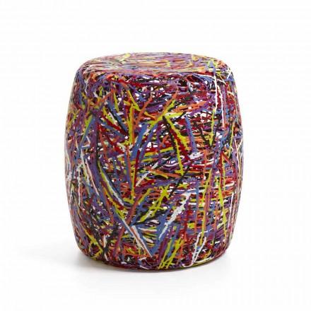 Pouf / pall tillverkad av plastmaterial smält multicolor eller vit Weky