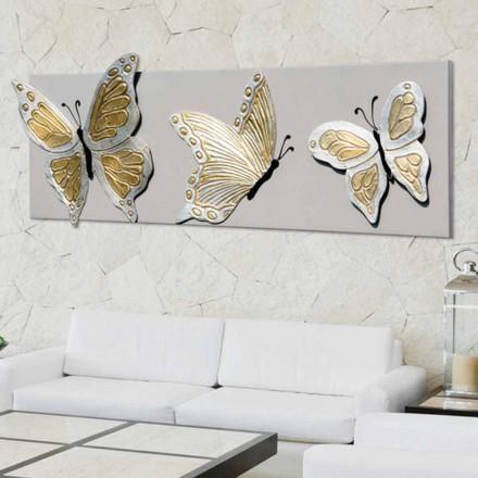 Modern bild med tre präglade fjärilar dekorerad för hand Stephen