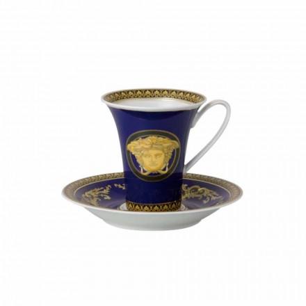 Rosenthal Versace Medusa Blue Cup hög Porslin Design Coffee
