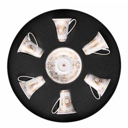 Rosenthal Versace Medusa Gala september 6 espressokoppar porslin bitar