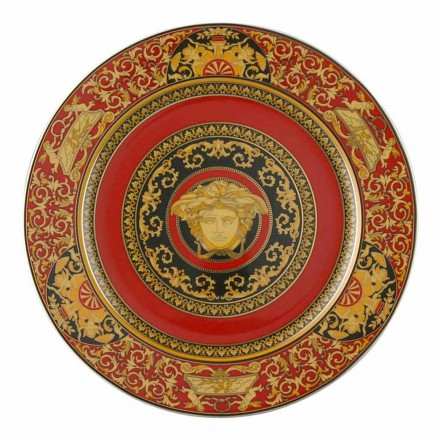 Rosenthal Versace Medusa Red Plate hållare 30cm porslin