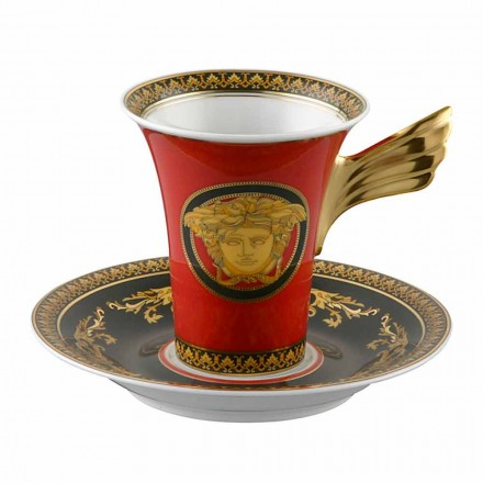 Rosenthal Versace Medusa Red Cup Coffee Hög Porslin Design
