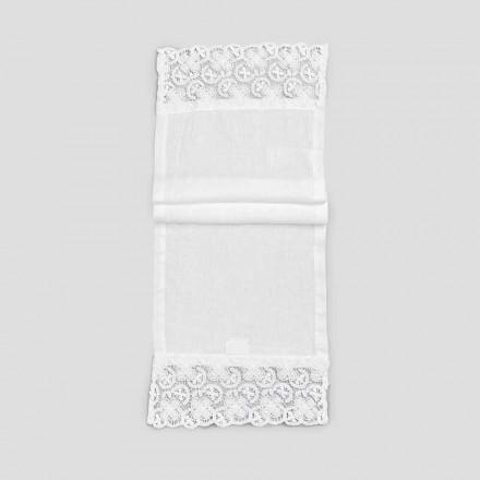 2 bordslöpare 100% linne med lyxig vit spets tillverkad i Italien - Trionfo