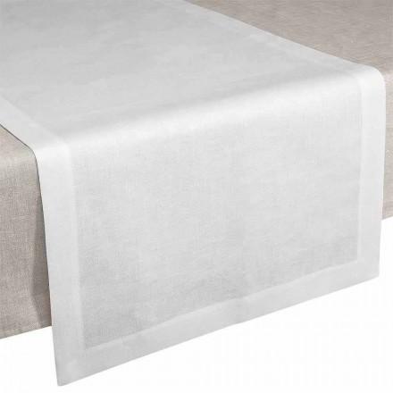 Bordslöpare i krämvitt linne 50x150 cm Tillverkat i Italien - vallmo