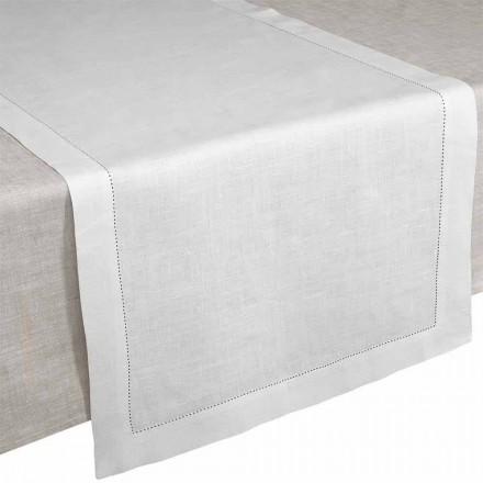 Bordslöpare i grädde vitt rent linne tillverkat i Italien - Chiana