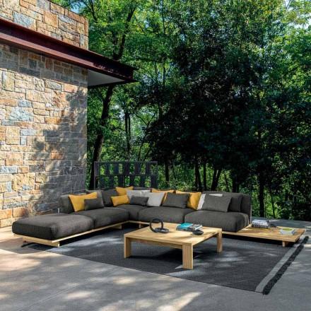 Garden Lounge med puff och soffbord i trä av hög kvalitet - Argo av Talenti
