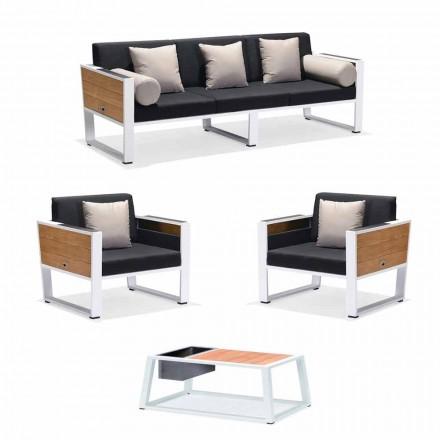 Uteservering 3-sits soffa, 2 fåtöljer och soffbord i aluminium och teak - Hatice