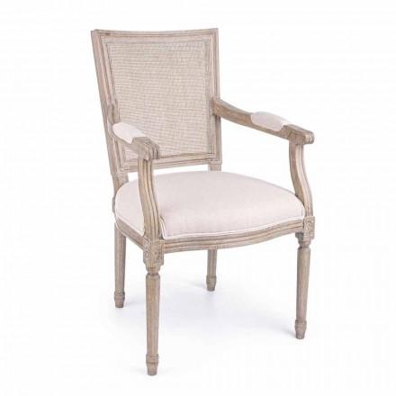 Klassisk stol med armstöd i ask och homemotion-tyg - maräng