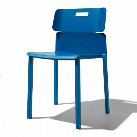 Färgad stapelbar stol för utomhus i aluminium Tillverkad i Italien - Dobla