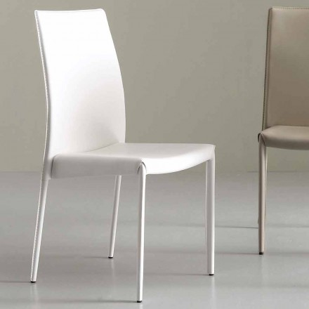 Modern stol helt täckt i faux läder - Eloisa