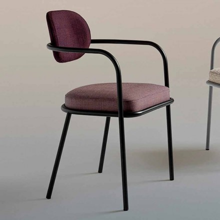 Vintage designstol med armstöd i stål och färgat tyg - Ula