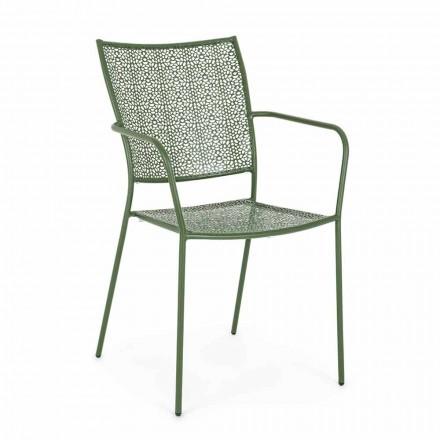Trädgårdsstol med armstöd Stackable Decorated Steel - toffel