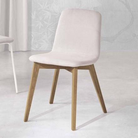 Design stol i trä och tyg för kök tillverkat i Italien, Egizia