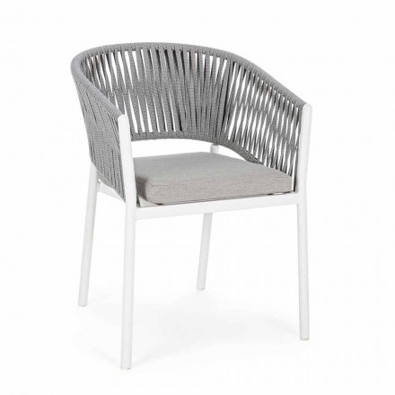 Utomhusstol med armstöd i vit och grå aluminiumkänsla - Rubio