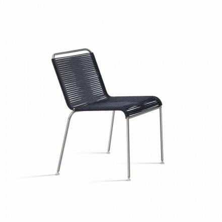Design utomhusstol i stål och sladd Tillverkad i Italien - Madagaskar1