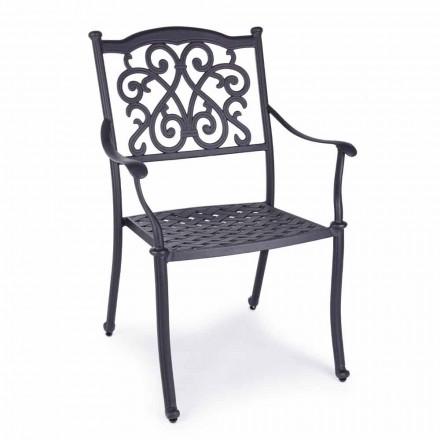 Stapelbar utomhusstol i vit eller antracit aluminium, 4 delar - Ode