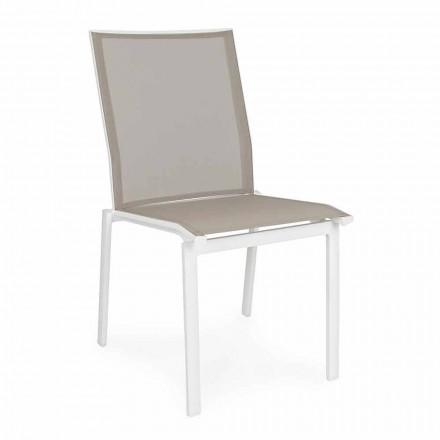 Stapelbar utomhusstol i aluminium och textilin, Homemotion 4 stycken - Serge