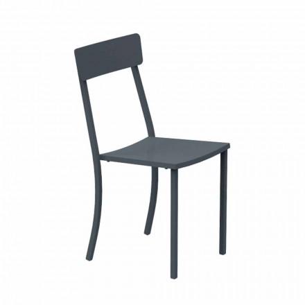 Stapelbar utomhusstol i målad metall tillverkad i Italien, 4 delar - tyll