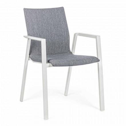 Stapelbar utomhusstol i tyg och aluminium, 4 delar - Kyo