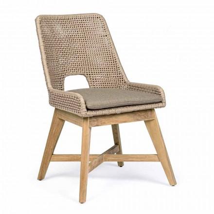 Utomhusstol i rep och tyg med teakfot, Homemotion 2 stycken - Lesya