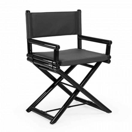Utomhusstol i naturligt trä eller svart och återförslutbart designtyg - Suzana