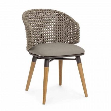 Tortora utomhusstol i trä, aluminium och hemkänslatyg - Luana