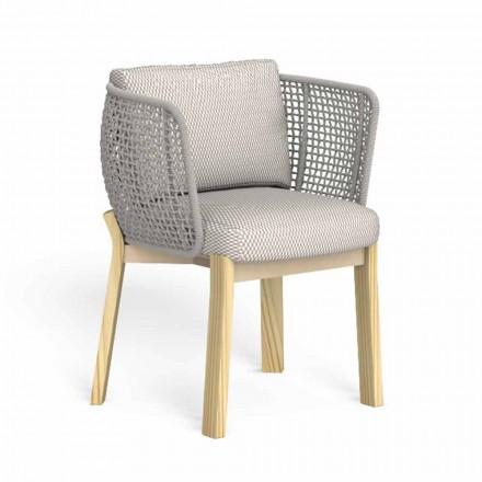 Trädgårdsstol med armstöd i rep, tyg och trä - Argo av Talenti